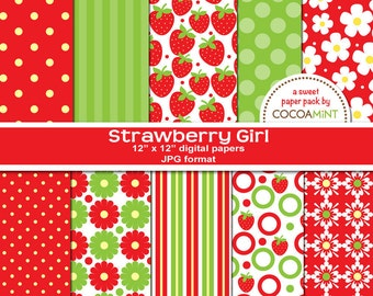 Strawberry Girl Digital Papers