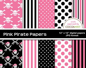 Pink Pirate Digital Papers