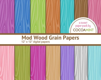 Mod Wood Grain Papers