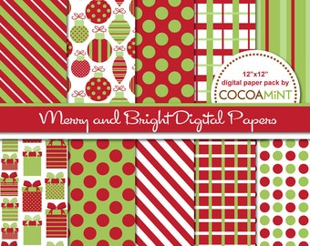 Merry and Bright Christmas Digital Papers