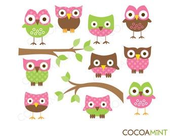 Mod Pink Owls Clip Art