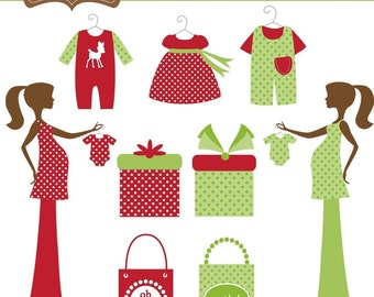 Chic Christmas Mom-to-Be Clip Art