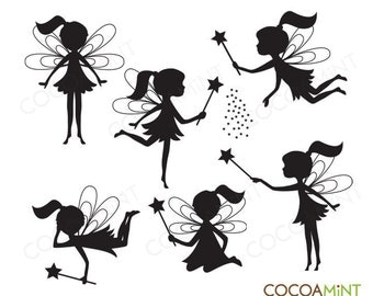 Silhouette Fairies Clip Art