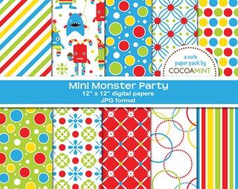 Mini Monster Party Digital Paper Pack