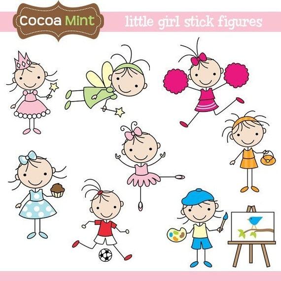 Little girl stick figures clip art