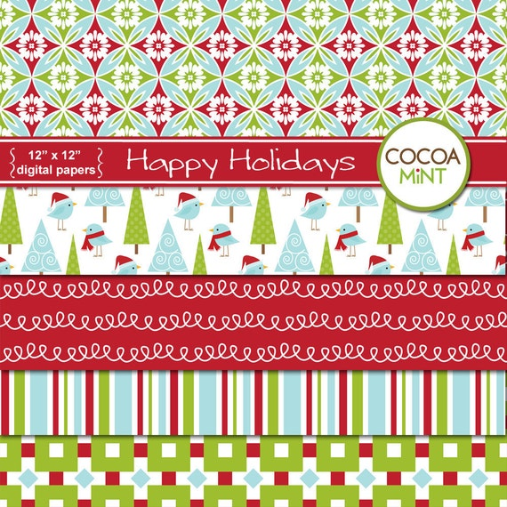 Happy Holidays Digital Papers