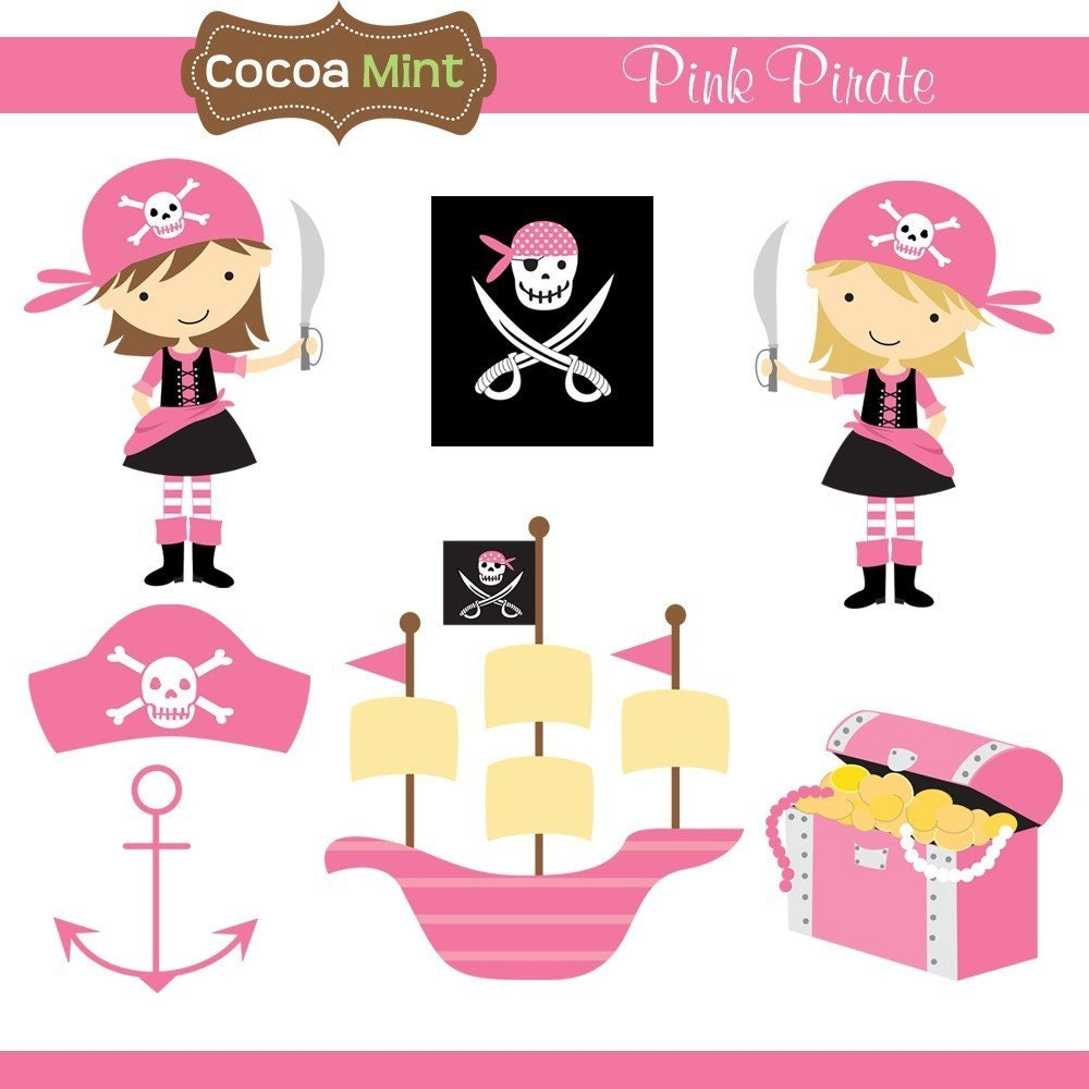 Pink Pirate Clip Art by cocoamint on Etsy