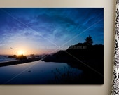 Gallery Wrapped Canvas Art Print // BEACH AT SUNSET // 20x30