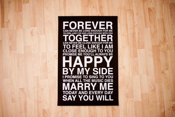 Marry Me Subway Art // Black and White // 20x30 // Printable PDF