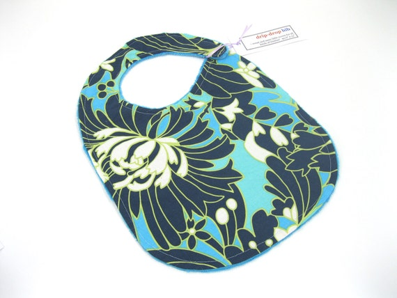 SALE - Big Bold Blue Flower Drip Drop Bib