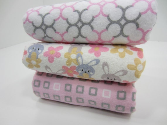 Large Burp Cloths, Set of Three, Easter Bunny Springtime Pastel