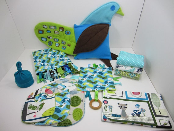 Custom Order for Jen R - BellyTime Blankie, 3 Burpers, 3 Bibs, 1 Changing Pad Clutch, 1 Teething Toy, 1 Hat, One of a Kind Pillow Peacock