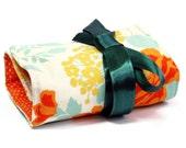 SALE - Makeup case / Makeup roll - Orange Flower, fashion Makeup bag organizer, five pockets