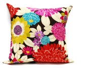 Decorative Pillow cover in Summer Flower - 16x16 inch Decorative cushion cover, throw pillow cotton case, invisible zipper