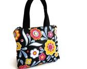 Teens girls handbag - black jeans flower, girls Purse, Youth shoulder bag