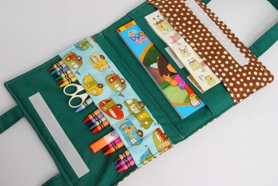 Crayon case / Artistic organizer -  Blue cars  - green and brown dots, Crayon holder Folio bag, Artistic wallet