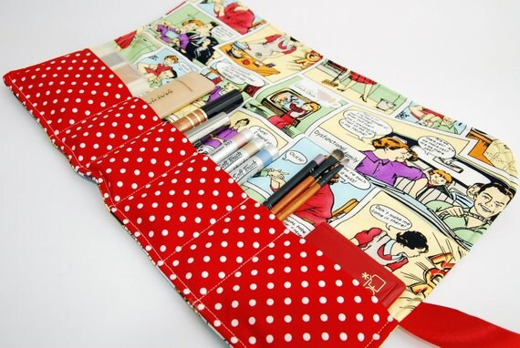 Makeup bag organizer in Red comic strip, makeup roll, Cosmetics holder, five pockets