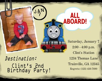 5 x 7 Printed Invitation- Thomas the train