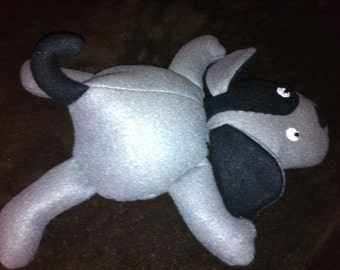 Floppy Plush Puppy-  Gray & Black