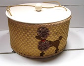 Vintage Princess wicker SEWING Basket Box Gold - Poodle