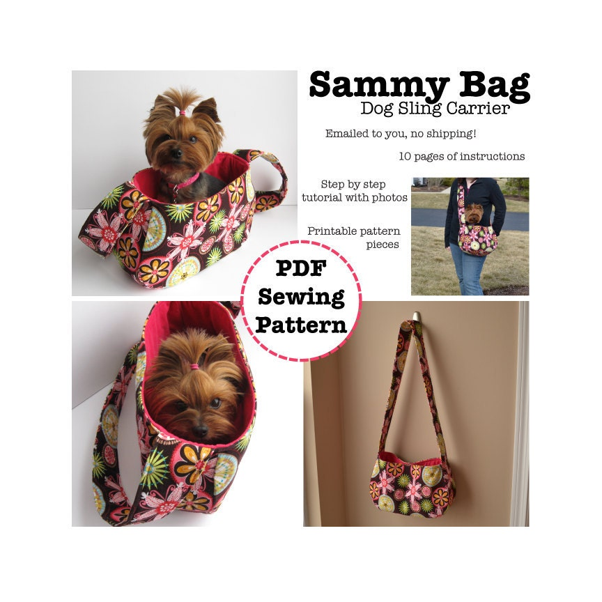 Sammy bag dog sling carrier pdf pattern - Dog carrier sling pattern ...