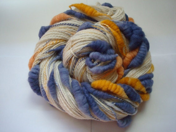 Handspun, hand dyed, core spun coiled beehive yarn, 100% Merino, 220 yards, super bulky weight, 4.25 ounces.