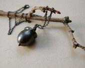 Dark Finished Electro-formed Acorn Necklace