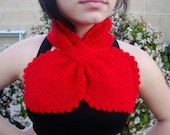 Red Necktie Scarf - Hand Knitted Lotus Leaf Scarf - Knitted Neck Warmer - Red Hearts - Fashion Accessories - Gift for Her