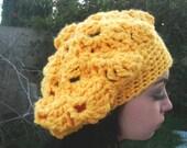Crochet Hat - Crochet Beret - Bulky Hat - Slouchy Hat - Yellow Hat - Winter Fashion - Vegan Friendly