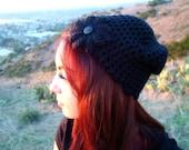Black Crochet Mesh Hat with Flower for all Seasons - Open Weave Beanie - Crochet Beanie - Flower Hat - Gift for Her