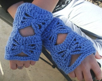 Crochet Wrist Warmers - Fingerless Gloves - Butterfly Design - Fashion Accessories