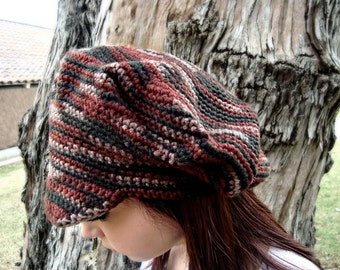 Newsboy Hat with Visor - Crochet Newsgirl Hat - Brimmed Crochet Hat -  All Seasons - Vegan Friendly