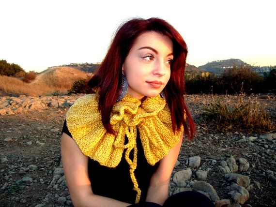 Hand Knitted Cowl - Adjustable Scarf - Neck Warmer - Yellow Scarf - Knit Collar - Gift for Her