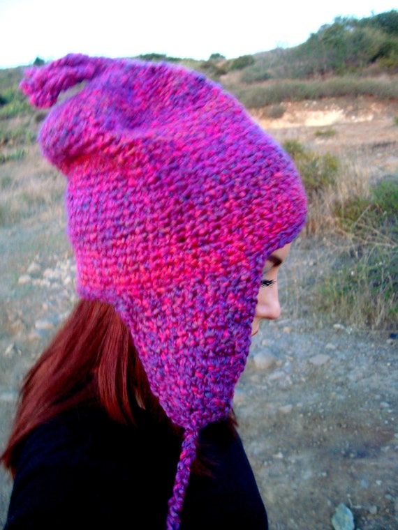 Crochet Earflap Hat with Tassels - Ear Flap Hat - Unique Crochet Hat -  Pink and Purple Crochet Hat