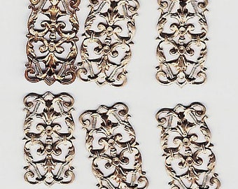 6 Brass Filigree Bracelet Links