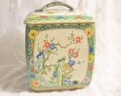 Vintage English Storage Canister Tin Floral Motif