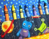 OUTER SPACE ALIENS - Travel Crayon Wallet Roll - Wristlet Carry All