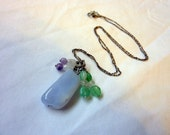 Chalcedony Gemstone Necklace 18 Inch -  Chrysoprase Sugilite Moonstone - PayPal Faerie Dust
