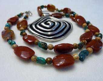 Petrified Wood Turquiose Picture Jasper Gemstone Pendant Necklace - 18 Inches - Spiral Red