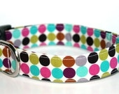 Colorful Polka Dot Dog Collar / Polka Dots Dog Collar / Adjustable Dog Collar / Polka Dot Pet Collar / Multi Color Polka Dot Dog Collar
