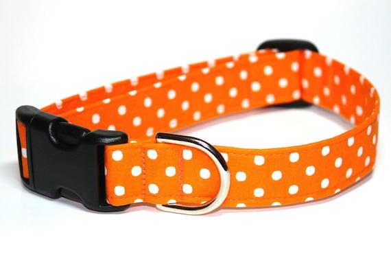 Halloween Dog Collar / Polka Dot Dog Collar / Orange Dog Collar / Orange White Dog Collar / / Fall Dog Collar /