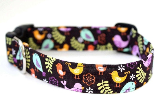 Dog Collar - Forest Birds - woodland black and purple dog collar