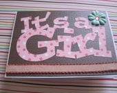 It's a Girl Greeting Card, New Baby Girl, Congrats on your Pregnancy,