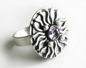 """SIlver Amethyst Ring - One of a Kind Artistic Sterling Silver Ring Unique With Faceted Amethyst Gemstone """"The Anemone Ring"""""""