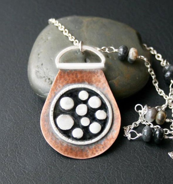 Copper And Silver Planets Pendant Necklace