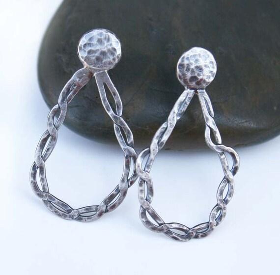 Twisted Chain Earrings/Sterling Silver/Pierced/Teardrop Shape