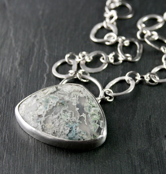 Moss Agate Pendant - Beautiful Sterling Silver Pendant Necklace with a lovely Moss Agate Cabochon Necklace - Large Handmade - ONE OF A KIND