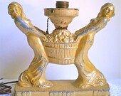 RESERVED FOR LONNA, Art Nouveau, Antique, Lamp, Women, Metal, Basket, Yellow, 1910s, 1920's