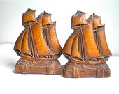 Vintage Ships, Bookends, Nautical, Sailing, Cabin, Sea, Cottage, Syroco, Wood, 1950's, 1960's, Set of 2