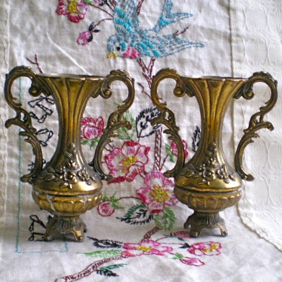 Hollywood Regency, Vintage Vases, Bud Vases, Italian, Roses, Metal, Petite, Sweet, Vintage, Lovely Brass Finish, set of 2 Vases